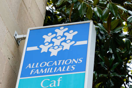 Bordeaux, Aquitaine / France - 07 25 2020: Caisse allowances familial logo and text sign of caf agency for Family Allowances Fund office Éditoriale