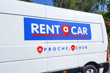 Bordeaux, Aquitaine / France - 07 25 2020: rent a car logo and sign on van truck of Mobility agency shop French car rental rentacar company
