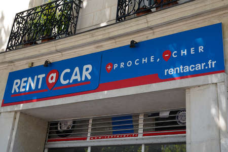 Bordeaux, Aquitaine / France - 07 25 2020: rent a car logo and text sign on van truck of Mobility agency shop French to car rental rentacar company