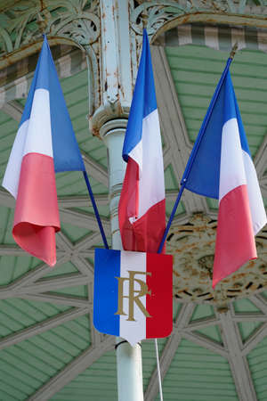 France flag waving with RF pole means French republic