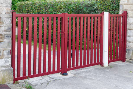 red entrance portal design home metal aluminum gate of suburb house