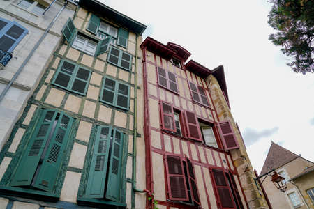 Traditional house in Bayonne city in french Basque country
