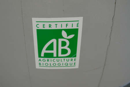 Bordeaux, Aquitaine / France - 07 30 2020: ab organic agriculture biological shop sign and text logo on french bio store