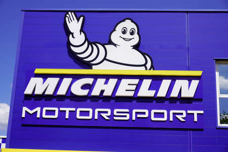 Bordeaux, Aquitaine / France - 07 30 2020: Michelin motorsport logo sign on headquarter of tire manufacturer sport brand based in Clermont-Ferrand in Auvergne France