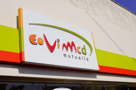 Bordeaux, Aquitaine / France - 07 30 2020: eovi mcd mutuelle insurance logo and text sign on office store building shop Sajtókép