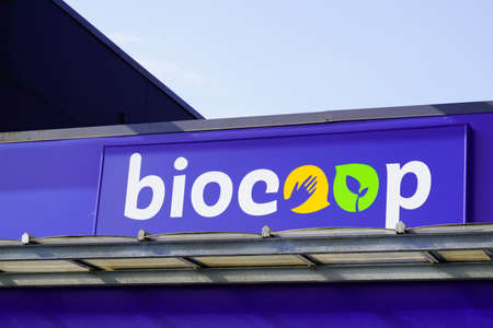 Bordeaux, Aquitaine / France - 07 30 2020: Biocoop logo and text sign on store front biological shop distribution of food Bio fair trade products Éditoriale