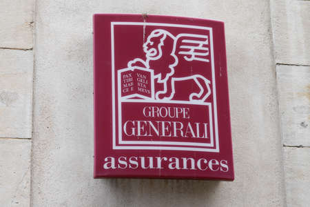 Bordeaux, Aquitaine / France - 07 30 2020: Generali SpA logo and sign on agency building of bank and insurance group