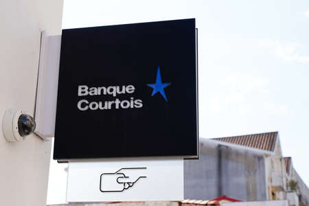 Bordeaux, Aquitaine / France - 07 30 2020: Banque Courtois star text and logo sign on wall office oldest French bank brand agency