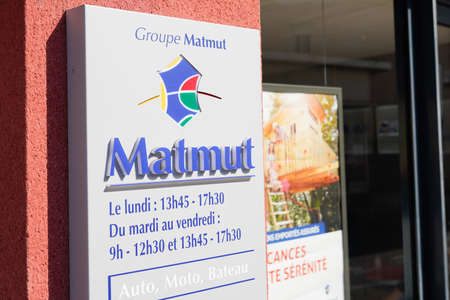 Bordeaux, Aquitaine / France - 07 30 2020: Matmut text and logo sign on entrance french insurance office store building shop