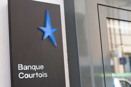 Bordeaux, Aquitaine / France - 07 30 2020: Banque Courtois Logo and text sign on entrance office of French bank agency Éditoriale