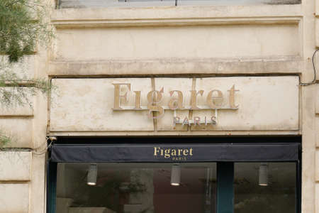 Biarritz, Aquitaine / France - 07 30 2020: Figaret Paris logo and text sign shop for high standard shirts for men and women store Éditoriale