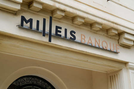 Biarritz, Aquitaine / France - 07 30 2020: Milleis logo sign on french branch of Barclays Bank office Éditoriale