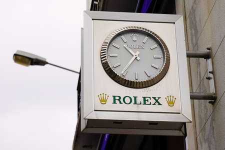 Bordeaux, Aquitaine / France - 07 30 2020: Rolex SA logo sing and text on giant watches Swiss luxury watch manufacturer from Geneva Switzerland