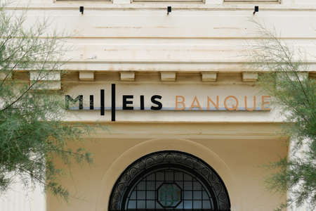 Biarritz, Aquitaine / France - 07 30 2020: Milleis bank logo and text sign on french agency of Barclays Bank office Éditoriale
