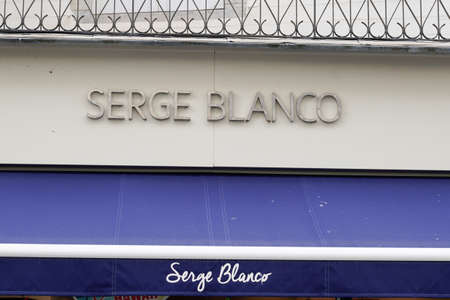 Bordeaux, Aquitaine / France - 08 04 2020: serge blanco sign and text logo on wall boutique of classic sport rugby fashion store