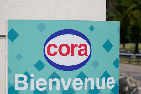 Bordeaux, Aquitaine / France - 08 04 2020: Cora sign and welcome text logo on hypermarket facade