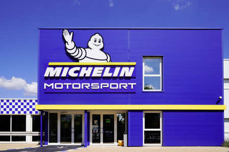 Clermont-Ferrand, auvergne / France - 08 10 2020: michelin motor sport sign and text logo bibendum of manufacturer and distributor of motorsport motorcycle truck car tires worldwide