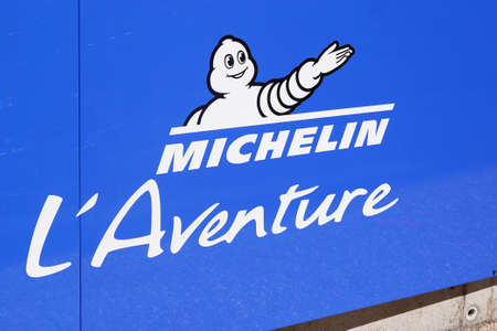 Clermont Ferrand, Auvergne / France - 08 10 2020: Michelin the adventure bibendum logo blue sign and text logo on corporate museum Redactioneel