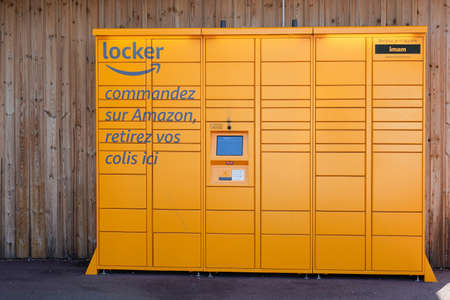 Bordeaux, Aquitaine / France - 08 25 2020: Amazon Locker Delivery Store yellow boxes for self-service delivery location to pick up and return parcel