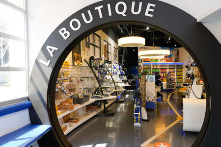Clermont-Ferrand,, Auvergne / France - 09 01 2020: Michelin entrance la boutique in aventure museum on french tire manufacturer based in Clermont-Ferrand in France