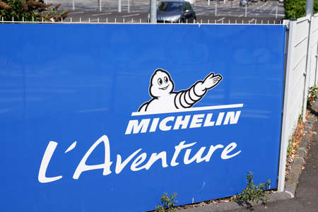 Clermont-Ferrand,, Auvergne / France - 09 01 2020: Michelin the adventure bibendum logo sign and text logo on trademark corporate tires industrial museum