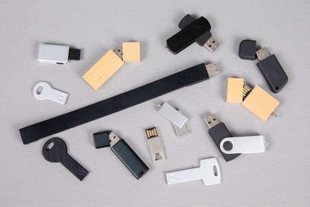 USB flash drive memory sticks keys on white background in flat style For Advertising Branding