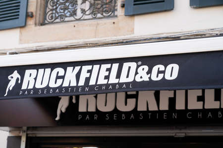 Bordeaux, Aquitaine / France - 09 01 2020: ruckfield & co by sebastien Chabal logo text and shop sign of rugby sporty clothing fashion store