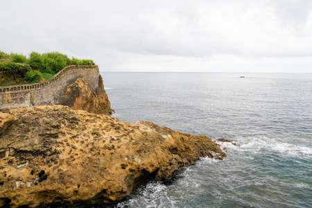 atlantic southwest coast in Biarritz France seascape of stone rock beach sea