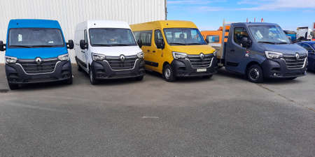 Bordeaux, Aquitaine / France - 09 25 2020: renault master van industrial commercial vehicles parked in trucks dealership vans vehicles