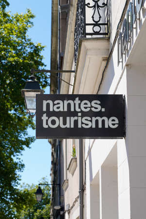 Nantes, loire atlantique / France - 09 20 2020: Nantes tourisme text sign and logo for French office tourism agency for ask help tourist