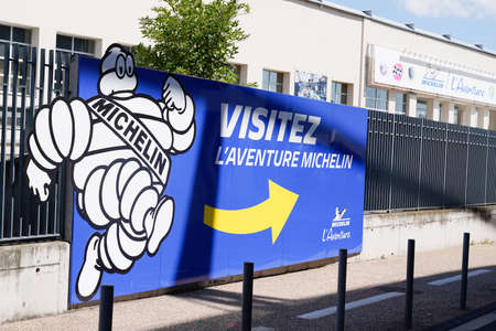 Clermont-Ferrand,, Auvergne / France - 09 01 2020: Michelin l'Aventure bibendum logo sign and text front of entrance corporate tires museum exhibition of innovations in transport
