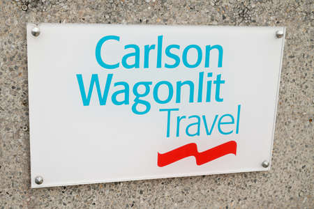 Bordeaux, Aquitaine / France - 10 01 2020: Carlson Wagonlit Travel logo sign on their main office American travel management company in B2B