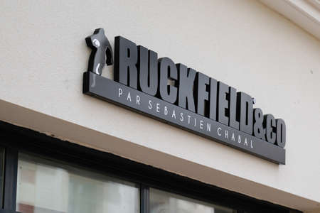 Bordeaux, Aquitaine / France - 10 01 2020: ruckfield & co logo text and sign sporty store by sebastien Chabal of rugby sport shop clothes