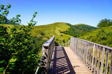 bridge access to Puy de Dome volcano mountain at Pariou in Auvergne french