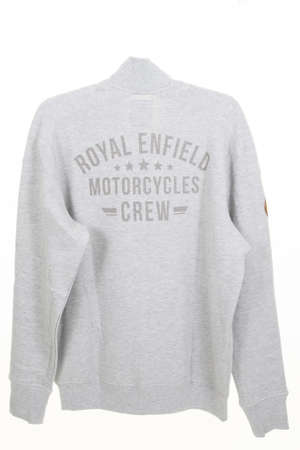 Bordeaux, Aquitaine / France - 10 10 2020: Royal Enfield logo sign on retro vest with text crew motorcycles on the back to protect motorbike man pilot Editoriali