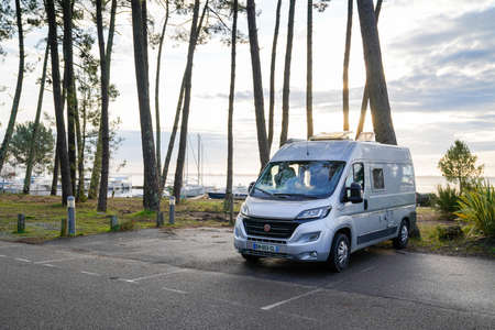 Ares, Aquitaine / France - 16 10 2020: Fiat ducato Vanlife lifestyle rv motorhome in the wild by sea coast Redakční
