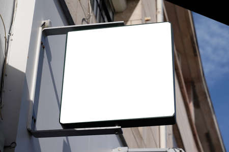 blank square empty white sign board on facade building modern architect
