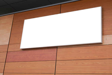 Wall store with blank signage empty banner ready for artwork sign rectangle company name on facade
