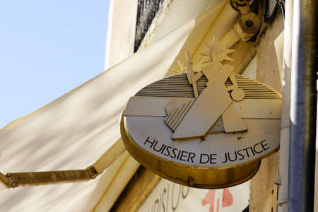 Bordeaux, Aquitaine France - 11 21 2020: huissier de justice logo and text sign in france means office bailiff in French 에디토리얼
