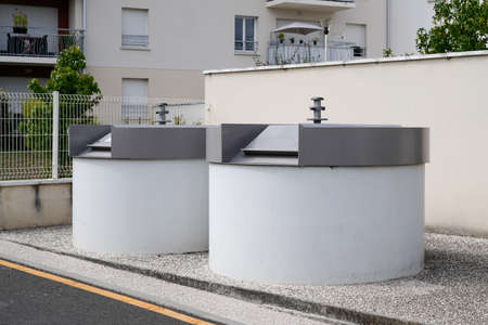 street trash cans for separate recycling garbage glass and paper in city Ecology protection of nature in selective sorting of household waste