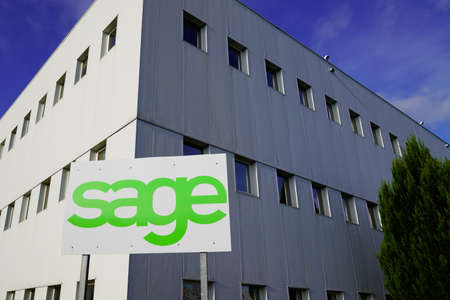 Bordeaux, Aquitaine France - 12 28 2020: Sage logo brand and text sign of British multinational enterprise software company based in Newcastle uk