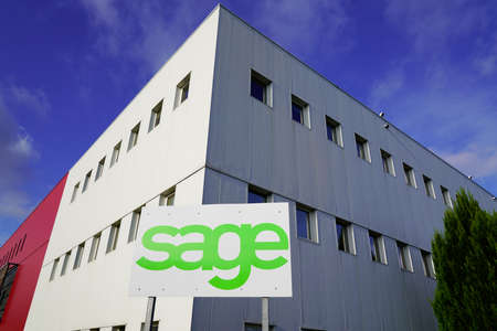Bordeaux, Aquitaine France - 12 28 2020: Sage logo brand and text sign headquarters of British multinational enterprise computer software for accounting and business company based in Newcastle uk