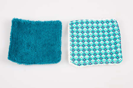 two reusable blue washable cotton cosmetic pads green makeup removal pads for facial cleansing