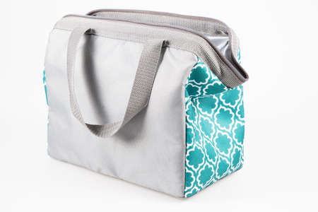 Bag lunch pack cooler gray green for carrying and storing fresh products Stockfoto