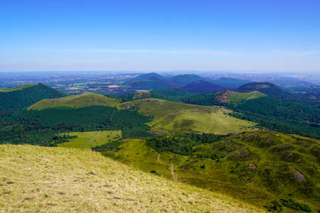 panorama of old mountain Puy de Dome french volcano in Auvergne france Stockfoto