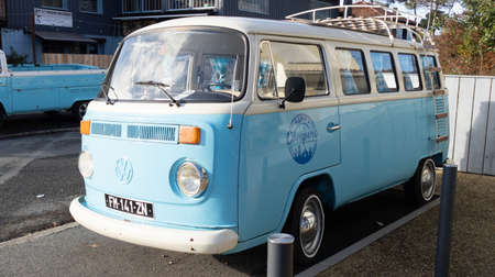 Bordeaux, Aquitaine France - 01 05 2021: Volkswagen Type 2 blue kombi bat windows Minibus Classic VW Camper Van