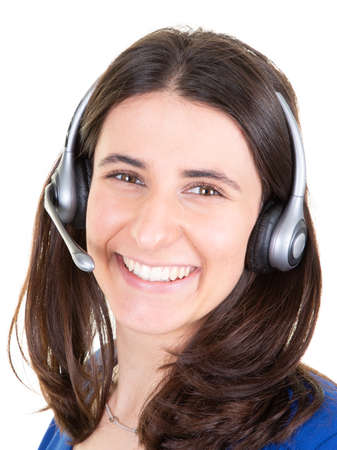 Support phone operator young pretty woman in headset callcenter in white background Stock fotó