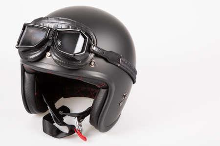 Black motorbike classic helmet vintage retro leather isolated white