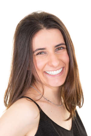 woman face young pretty beautiful happy girl smiling laughing looking at camera over white background