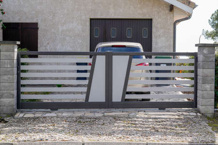 Aluminum modern gray design gate home portal of suburb house